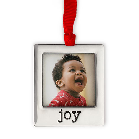 Silver Plate Joy Photo Ornament  Christmas Ornaments and Decor